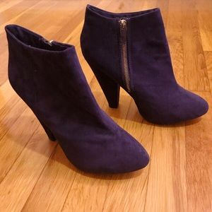 Dark Eggplant Faux Suede Ankle Booties with Heel